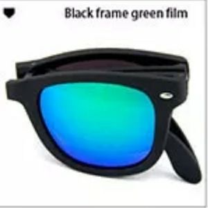 * FOLDING Sunglasses BLACK GREEN NWT